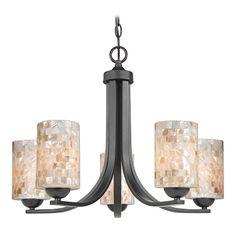 Design Classics Lighting Chandelier with Mosaic Glass in Matte Black Finish   584-07 GL1026C   Destination Lighting
