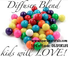 Essential Oil Diffuser Blend that smells like bubble gum: 4 drops grapefruit, 2 drops ylang ylang, and 1 drop eucalyptus