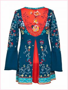 Ivko knit coat with embroidery marine - back view