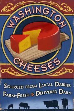 Washington - Cheese Vintage Sign - Lantern Press Poster
