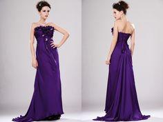 robe de tmoin de mariage longue tencel satin violet avec un buste recouvert de bouton - Tenue Temoin De Mariage