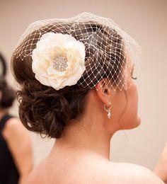 Bridal Flower Fascinator  Garbo  Ivory Rose by PetalnPearlBoutique, $54.95