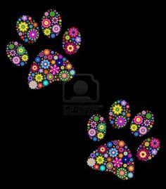 Stock Vector illustration of floral animal paw print on black background Stock Photo - 14557216 Dot Art Painting, Cat Quilt, Button Art, Mandala Art, Rock Art, Cat Art, Black Backgrounds, Painted Rocks, Illustration