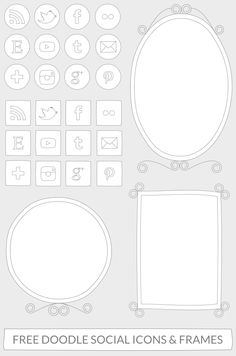 Free download: Doodle social media icons and frames clipart.
