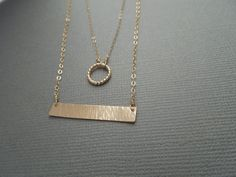 gold two tier necklace double strand circle bar by greygoosegifts, $50.00