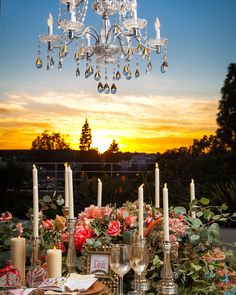 The Westin South Coast Plaza, outdoor wedding, wedding reception, centerpieces, chandlier, sunset, Orange County wedding, wedding decor, floral arrangements, #thewestinscp #twscp #westinweddings #southcoastplaza #thewestin