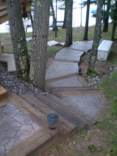 wood stamped concrete with stone