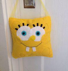 Hand sewn felt spongebob squarepants tooth fairy pillow  on Etsy, $10.00