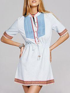 #Sweet #Crochet Trim Front #Button #Drawstring Denim #Dress For Women http://fas.st/5Sb7f
