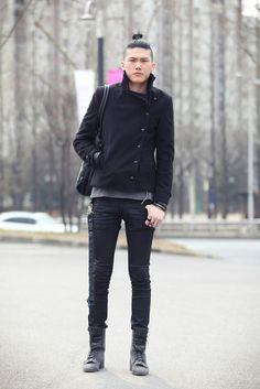 Man Bun. Button Coat + Leather pants
