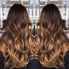 60 Hairstyles Featuring Dark Brown Hair with Highlights High Contrast Caramel Blonde Balayage Balayage Caramel Blonde, Balayage Brunette, Hair Color Balayage, Brunette Hair, Caramel Highlights, Caramel Color, Caramel Ombre Hair, Ashy Balayage, Dark Hair With Highlights