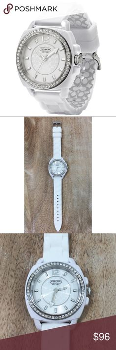 COACH WOMEN'S BOYFRIEND WATCH_#124-1 COACH WOMEN'S SILICONE 'GLITZ' BOY FRIEND WATCH. WHITE FACE AND BAND. SILVER DETAIL/ HARDWARE. CRYSTAL DETAIL ON FACE. SIGNATURE 'C' ON FACE AND BACK ON BAND. STAINLESS STEEL CASE BACK. WATER RESISTANT. MEASUREMENTS: 9'' L/ FACE: 1.5'' L X 1.75'' H. CONDITION: GENTLY USED/ SIGNS OF WEAR; DEAD BATTERY. NO BOX/ TAGS. Coach Accessories Watches