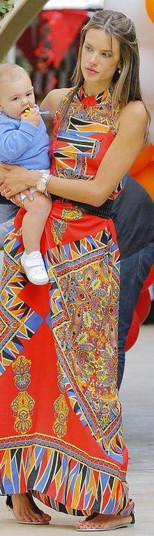Glamorous Bohemian style / karen cox.  Alessandra Ambrosio's orange print maxi dress