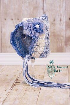 Newborn 0-3 Months Crochet Blue and Ivory Cottage Bonnet-Crochet Baby Hat- Crochet Bonnet- Baby Girl Bonnet- Baby Bonnet- Photo Prop Hat via Etsy