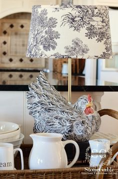 StoneGable: KITCHEN CART~ WINTER IN THE KITCHEN~  love this chicken lamp