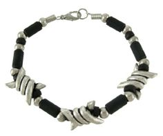 Black / Chrome Barrel Link Barbed Wire Bracelet Gothic Things2Die4. $15.99
