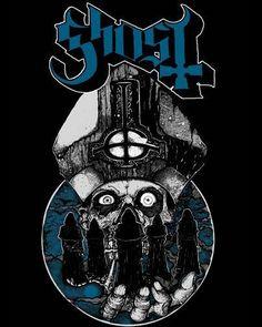 Ghost - Night Warriors, EU - Scandinavian Tour 2013 - Tee & Hoodie Design by Coven Illustración