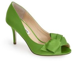Designer Clothes, Shoes & Bags for Women Satin Shoes, Satin Pumps, Peep Toe Pumps, Women's Pumps, Green High Heels, Green Shoes, Nina Shoes, Designer Pumps, Colorful Shoes
