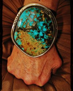 "NATIVE AMERICAN TURQUOISE LEATHER BRACELET,120 gr Sterling Silver CHAVEZ 3"" wide #CHAVEZNAVAJO"
