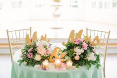 Mint, pink, and gold sweetheart table.  Irvington Spring Farm.