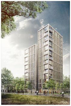 Nog enkele appartementen te koop - Wonen op het terrein van De Meelfabriek in Leiden aan de Zijlsingel - een nieuw te bouwen ranke woontoren. - architectuur - duurzaam