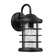 Sea Gull Lighting Sauganash H Black Medium Base Outdoor Wall Light at Lowe's. The Sea Gull Lighting Sauganash one light outdoor wall fixture in black enhances the beauty of your property, makes your home safer and more secure, and Black Outdoor Wall Lights, Outdoor Barn Lighting, Outdoor Wall Lantern, Outdoor Wall Sconce, Exterior Lighting, Outdoor Walls, Farmhouse Lighting, Black Wall Sconce, Wall Sconces
