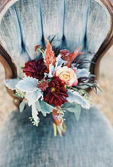 Mixed Bouquet of Red & Orange Dahlias | Wedding Flowers