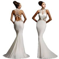 Fashion New 2016 Printed Sleeveless Sexy Hollow Out Mermaid Dress Backless Evening Party Ladies Patchwork Bodycon Dresses