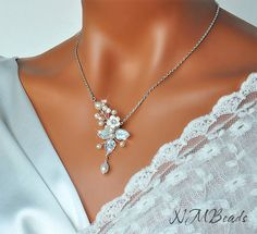 Freshwater Pearl and Crystal Bridal Necklace by NMBeadsJewelry, $68.00