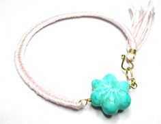Fishtail Braided Friendship Bracelets - light pink twelve string turquoise