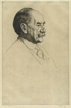 Thomas Hardy, 1910 by William Strang (Scottish 1859-1921).....etching.....Thomas Hardy was the subject of several drawings, etchings and oil portraits by Strang, becoming possibly the artist's most famous sitter. Strang probably first met Hardy in London in the early 1890s when both were members of the Art Workers Guild, a circle of artists and literary figures interested in the promotion of the applied arts in the community. The two shared similar concerns - Hardy's writing, like Strang's…