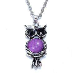 Owl Pendant Purple Crystal Necklace Long Chain Rhinestone Jewelry Free Shipping…