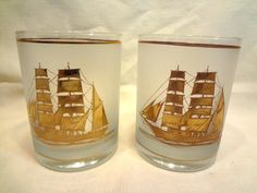 2 Vintage Culver 22K Gold Frosted Tall Ships Rocks Cocktail Glasses Tumblers