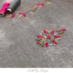 Pink & Grey- alluring colour combination that gives a opulent look Saree Embroidery Design, Zardosi Embroidery, Embroidery On Kurtis, Embroidery Neck Designs, Hand Work Embroidery, Embroidery Fashion, Hand Embroidery Patterns, Beaded Embroidery, Hand Work Design