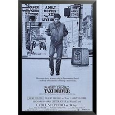 Buy Art For Less 'Robert Deniro Taxi Driver Movie Reproduction New York City Times Square Sidewalk Movie Icon' Framed Vintage Advertisement