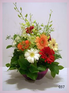 Gerber Daisy Table Arrangement Silk Flowers by FlowersForThought, $75.00