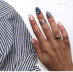 matte nails for fall;easy designs for short nails; Get Nails, Hair And Nails, Nails 2018, Trendy Nail Art, Nagel Gel, Blue Nails, Matte Nails, Acrylic Nails, Nail Polish Colors