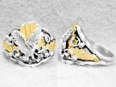 Men s Navajo Ring Eagle Size 10 Sterling Silver Gold Fill Native American