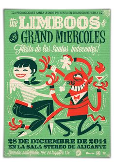 https://www.behance.net/gallery/22424391/Music-poster-The-Limboos-Le-Grand-Miercoles really awesome poster depicting the devil and an angel dancing with each other. found on behance