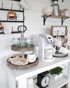 Perfect Farmhouse style coffee bar full of vintage, Rae Dunn, natural wood and DIY.