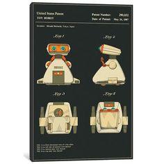 "East Urban Home 'Hiroshi Horiuchi (Tomy Kogyo, Inc.) Toy Robot (""Dingbot"") Patent (Black)' Graphic Art Print on Canvas Size: 40"" H x 26"" W x 0.75"" D"