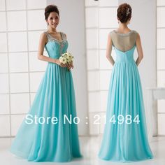 Free Shipping Elegant Turquoise V-neck See Through Back Beaded Evening Dress Formal Prom Party Dress Long Chiffon Dresses 2013 $79.00