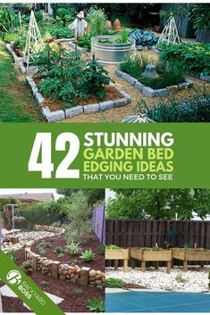 Do you do great work planting a garden but then get stumped when it comes to beautifying the surroundings? This can be an especially trying task if you're looking for ways to edge your garden beds with a unique look and eye catching elements that don't take away from the garden's beauty. But you can use this list of 42 ideas to create stunning garden bed edging that is easy to implement! #gardenedgingideas #uniquegardenedgingideas