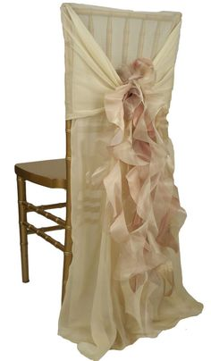Set the stage for elegance and celebration with sheer, harmoniously-hued twists of ruffles cascading from the back of the chair sleeves. Absolutely lovely and fun!