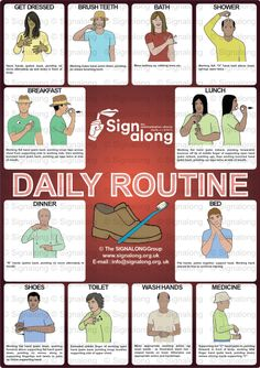 Daily Routine Poster, J) Posters, Signalong Store Sign Language Games, Sign Language Chart, Sign Language For Kids, Sign Language Phrases, Sign Language Alphabet, Learn Sign Language, Sign Language Interpreter, British Sign Language, Makaton Signs