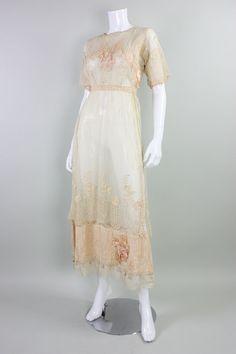 VTG Antique Edwardian Teens Lace Tea Dress Silk Bows Titanic | Clothing, Shoes & Accessories, Vintage, Women's Vintage Clothing | eBay!