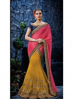 #PitchishPink #Lehenga Style #Saree Features on georgette fabric pallu with embossed zari work on it and dhupion fabric blouse.