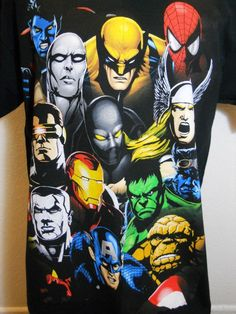 Marvel Super Heroes T-Shirt Mad Engine Marvel Comics- Mens Large Shirt #marvelcomics #marvel #spiderman #wolverine #batman #thor #ironman #thing #thething #captainamerica #daredevil #cyclops #silversurfer #beast #mensshirt #largeshirt #shirt #large #collectible