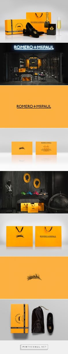 Romero+McPaul packaging branding by  Anagrama curated by Packaging Diva PD. A premium brand specializing in the sale and design of traditional English-style velvet slippers induced with a bright, trendy twist.