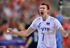 Dmitry Volkov (RUS) during FIVB World League 2017 game between Russia and Iran on June 2017 at Atlas Arena in Lodz, Poland. Volleyball, Iran, Poland, Russia, Polo Ralph Lauren, June, Games, World, Mens Tops